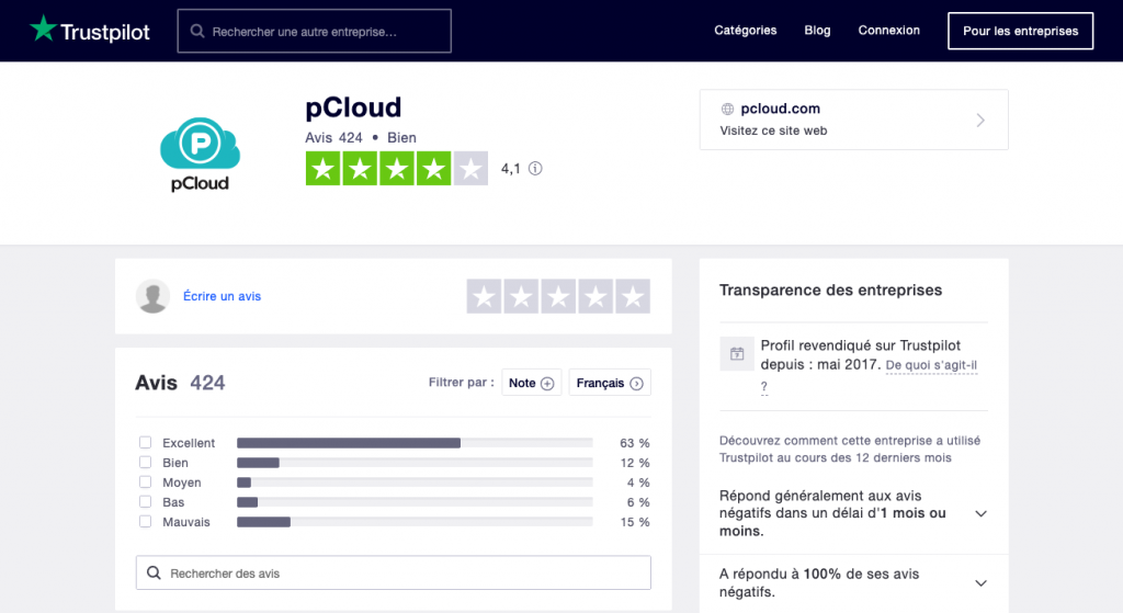 Avis utilisateurs pCloud sur Trustpilot